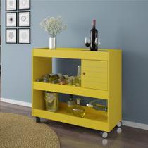Aparador Bar com 1 Porta Cristal Amarelo Bechara -