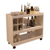 Aparador Bar Luxo 4050 - c/ Mini Adega e 3 Repartições - Pérola - JB Bechara -