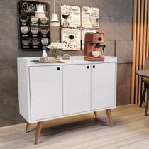 Aparador Buffet Retrô 3 Portas Wood - Branco - RPM Móveis -