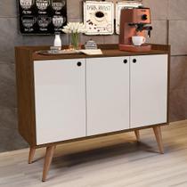 Aparador Buffet Retrô 3 Portas Wood - Freijó / Off White - RPM Móveis -