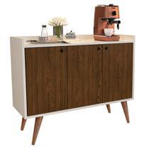 Aparador Buffet Retrô 3 Portas Wood - Off White / Freijó - RPM Móveis -