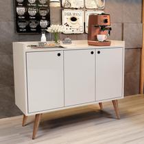 Aparador Buffet Retrô 3 Portas Wood - Off White - RPM Móveis -