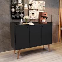 Aparador Buffet Retrô 3 Portas Wood - Preto Fosco - RPM Móveis -