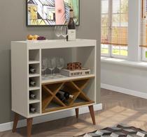 Aparador Estilo Retrô Pés Palito Adega Bar Label - Off White com Freijó - Comprar Móveis em Casa -