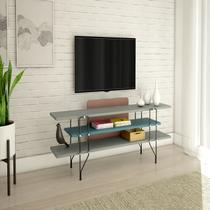 Aparador Rack Para TV até 65 Polegadas 14 Bis Tecnoflex Cinza Sagrado/ Azul Secreto/ Rosa Glamour -