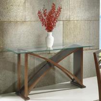 Aparador turin com base curvada e tampo de vidro - acabamento fino em pu multilaminado - madeira lyp - Seiva