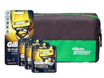 Aparelho de Barbear + 6 Cargas Gillette Fusion Proshiel + Necessaire -