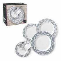 Aparelho de Jantar 20 peças Porcelana Linda Estampa - Wellmix