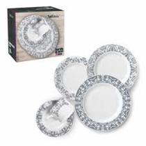 Aparelho de Jantar 20 Peças Porcelana Luxo Estampa - Wellmix