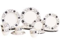 Aparelho de Jantar Chá 20 Peças Casamiga - Porcelana Redondo Branco Indigo