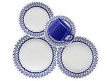 Aparelho de Jantar Chá 30 Peças Biona Cerâmica - Redondo Branco e Azul Donna Grécia