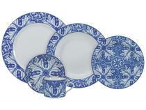 Aparelho de Jantar Chá 30 Peças Schmidt - Porcelana Redondo Azul e Branco Azulejos