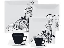Aparelho de Jantar Chá Café 42 Peças Oxford - Porcelana Quadrado Quartier Tattoo 2414