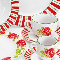Aparelho de Jantar, Chá e Café Beauty Flow em Porcelana 42 peças - Haüskraft -