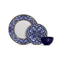 Aparelho de jantar com 12 peças coimbra c/ bowl azul royal - Alleanza Cerâmica