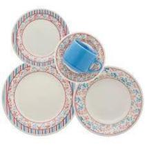 Aparelho de Jantar e Chá 20 Peças Biona Melissa em Cerâmica  Estampado - Oxford -