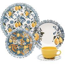 Aparelho de Jantar e Chá 30 Peças Unni Siciliano Oxford Azul/Amarelo -