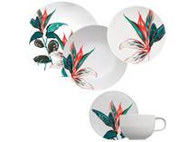 Aparelho de Jantar Jogo de Chá 30 Peças - Germer Porcelanas Redondo Tropical Convexa
