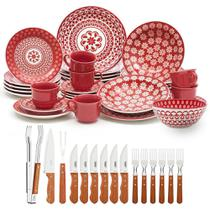 Aparelho de Jantar Oxford Renda com 30 Peças com 1 Bowl + Kit para Churrasco Tramontina Jumbo 15 pçs -