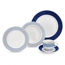 Aparelho de Jantar  Porcelana 20pçs Azul Listrado - Etilux