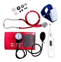 Aparelho De Medir Pressão Esfigmomanometro + Esteto Rappaport + Termômetro + Garrote - Premium