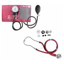 Aparelho De Medir Pressão Esfigmomanômetro + Estetoscopio Duplo Rappaport Premium -