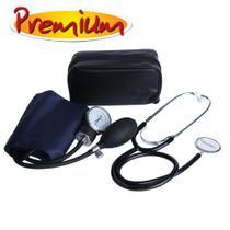 Aparelho de Pressão Adulto Fecho Metal Braçadeira Nylon Com Estetoscópio - Premium