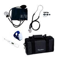 Aparelho de pressão com estetoscópio rappaport, termômetro e bolsa - kit acadêmico Premium para Enfermagem -