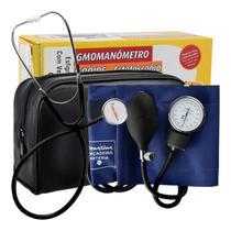 Aparelho de Pressão Premium Adulto Fecho Contato Braçadeira Nylon com Estetoscópio -