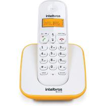 Aparelho de Telefone Fixo Sem Fio TS 3110 Branco / Amarelo Intelbras bateria de alta duração Bina -