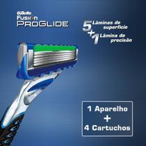 Aparelho Gillette Fusion Proglide Power + 4 Cargas 5 Lâminas -