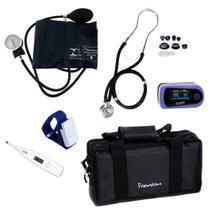 Aparelho Medidor de Pressão + Estetoscópio Duplo + Oximetro + Termômetro + Garrote + Bolsa - Premium