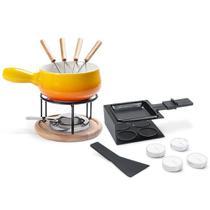 Aparelho para Fondue amarelo + Raclete preto 16 peças - 1256/109 - Brinox -
