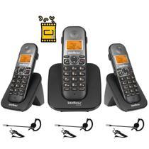 Aparelho Telefone Fixo sem fio 2 Ramal Bina e Fone Intelbras -