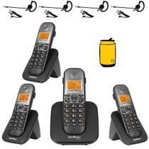 Aparelho Telefone Fixo sem fio 3 Ramal Bina e Fone Intelbras -