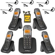 Aparelho Telefone Fixo sem fio 4 Ramal Bina e Fone Intelbras -