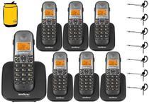 Aparelho Telefone Fixo sem fio 6 Ramal Bina e Fone Intelbras -