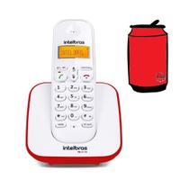 Aparelho Telefone Fixo Sem Fio Digital Branco Vermelho Bina - Intelbras