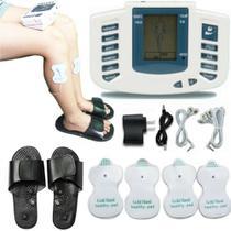 Aparelho tens digital fisioterapia massagem com chinelo massageador acupuntura choquinho eletroestimulador tonificador muscular profissional - MAKEDA