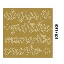 Aplique Acrílico: Palavras: Alegria, Fé, Gratidão, Momentos, Carinho - APA-002 - Litoarte