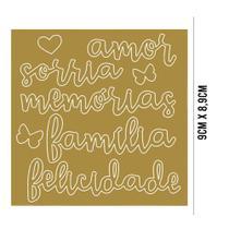 Aplique Acrílico: Palavras: Amor, Sorria, Memórias, Família, Felicidade - APA-001 - Litoarte