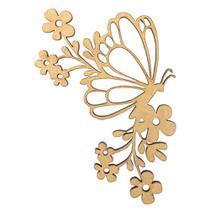 Aplique Borboleta Flores em MDF 13x8cm - Palácio da Arte -