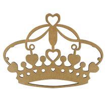 Aplique Coroa com Corações em MDF 10x7,5cm - Palácio da Arte -