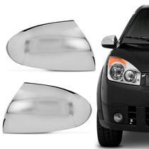 Aplique Cromado Retrovisor Ford Fiesta 2002 a 2013 Fácil Instalação Encaixe Sob Medida Dupla Face - Shekparts