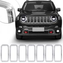Aplique da Grade Frontal Jeep Renegade 2019 2020 Encaixe Sob Medida Cromado 7 Peças - Prime -