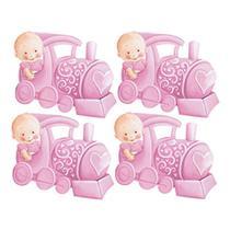 Aplique Decoupage em Papel e MDF Trenzinho com Bebê Menina APM3-175 - Litoarte -