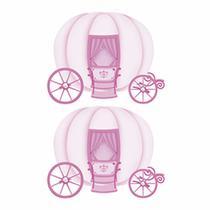 Aplique Decoupage Litoarte APM4-283 em Papel e MDF 4cm Carruagem de Princesa -