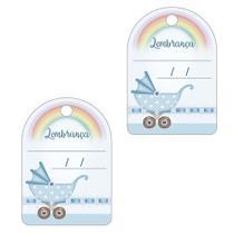 Aplique Decoupage Litoarte APM4-339 em Papel e MDF 4cm Lembrança Carrinho de Bebê Masculino -
