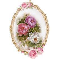 Aplique Decoupage Litoarte APM8-1131 em Papel e MDF 8cm Moldura Oval com Flores -