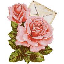 Aplique Decoupage Litoarte APM8-1132 em Papel e MDF 8cm Envelope com Rosas -